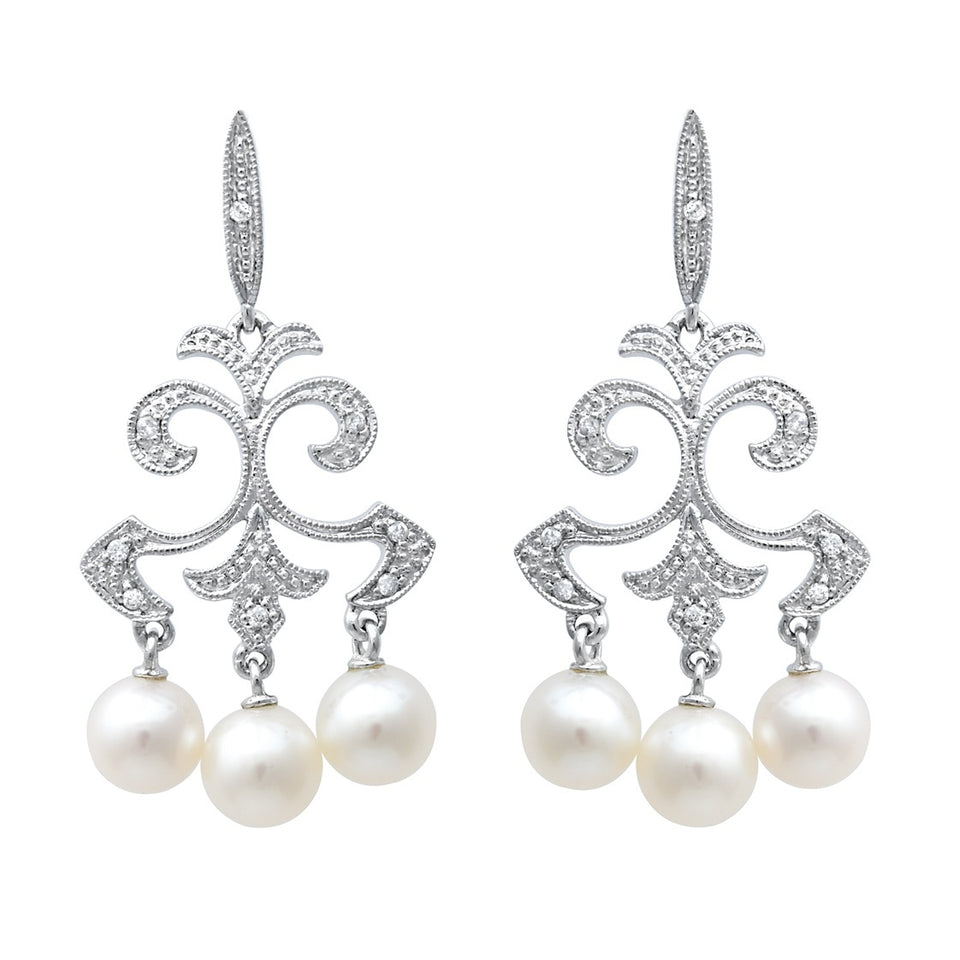 Pearl Mini Chandelier Diamond Earring