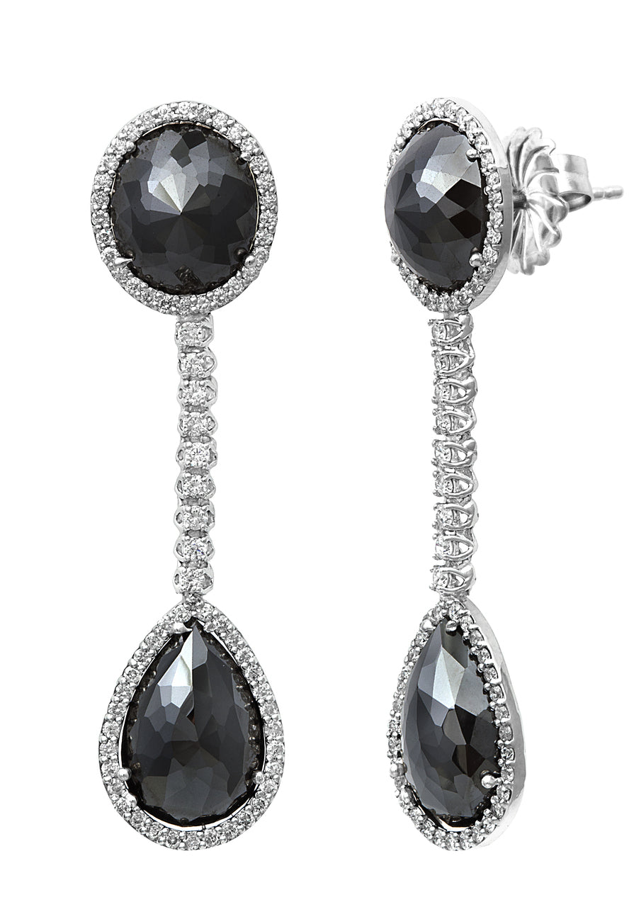 Black Diamond Collection ~ Black Round & Pear Shape Diamond Earring