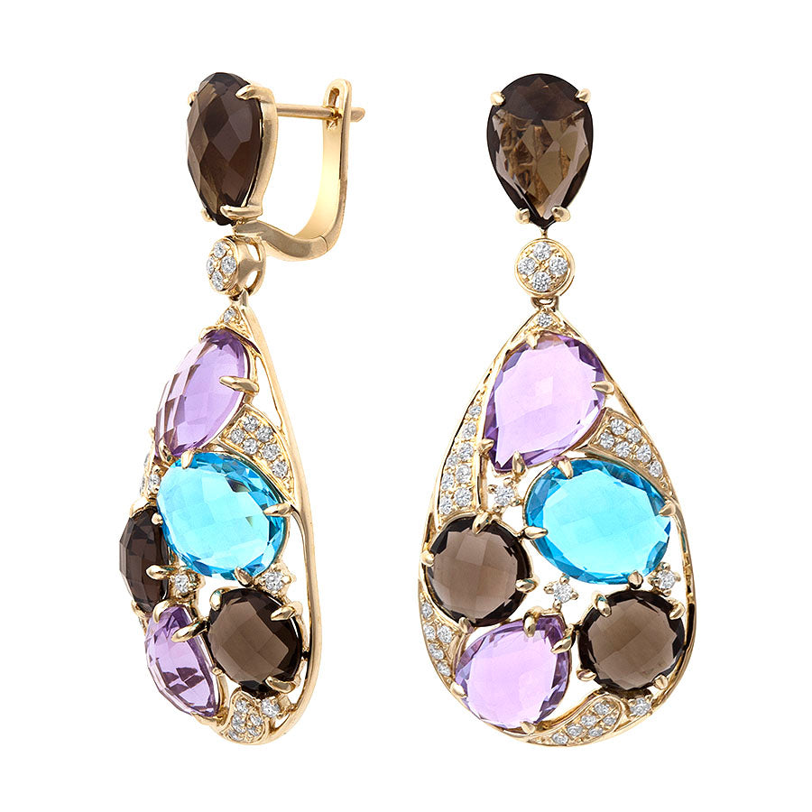 Confetti Collection ~Tear-Drop Shaped Multi-Gemstone Earring