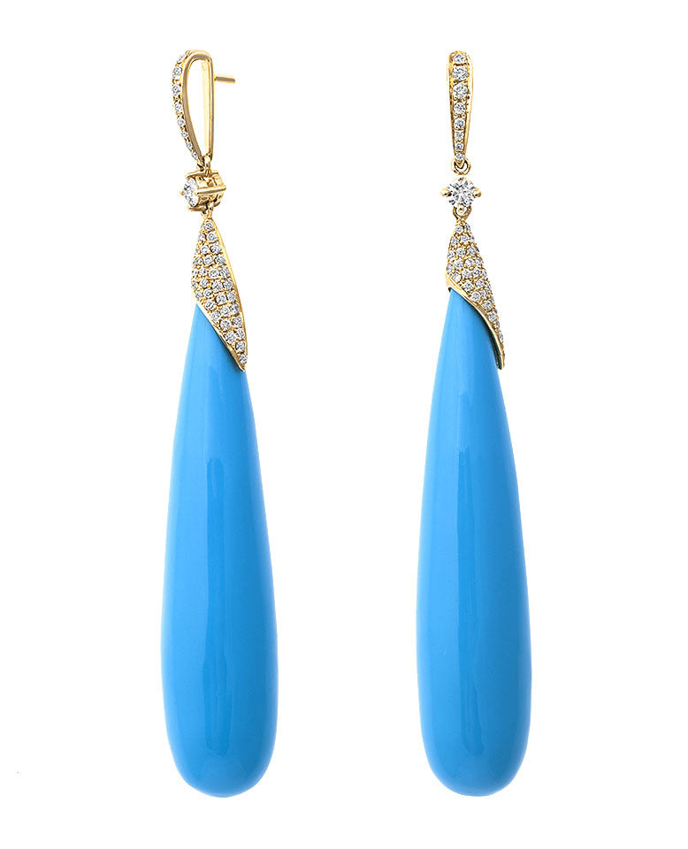 Exotic Coral Collection ~ Tear Drop Turquoise Cabochon Earring