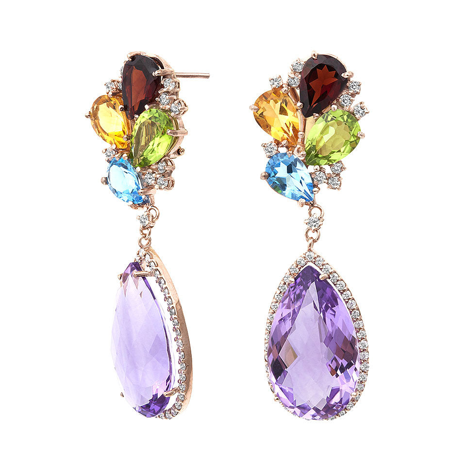 Pear Shaped Amethyst Multi-Colored Gemstone & Diamond Earring