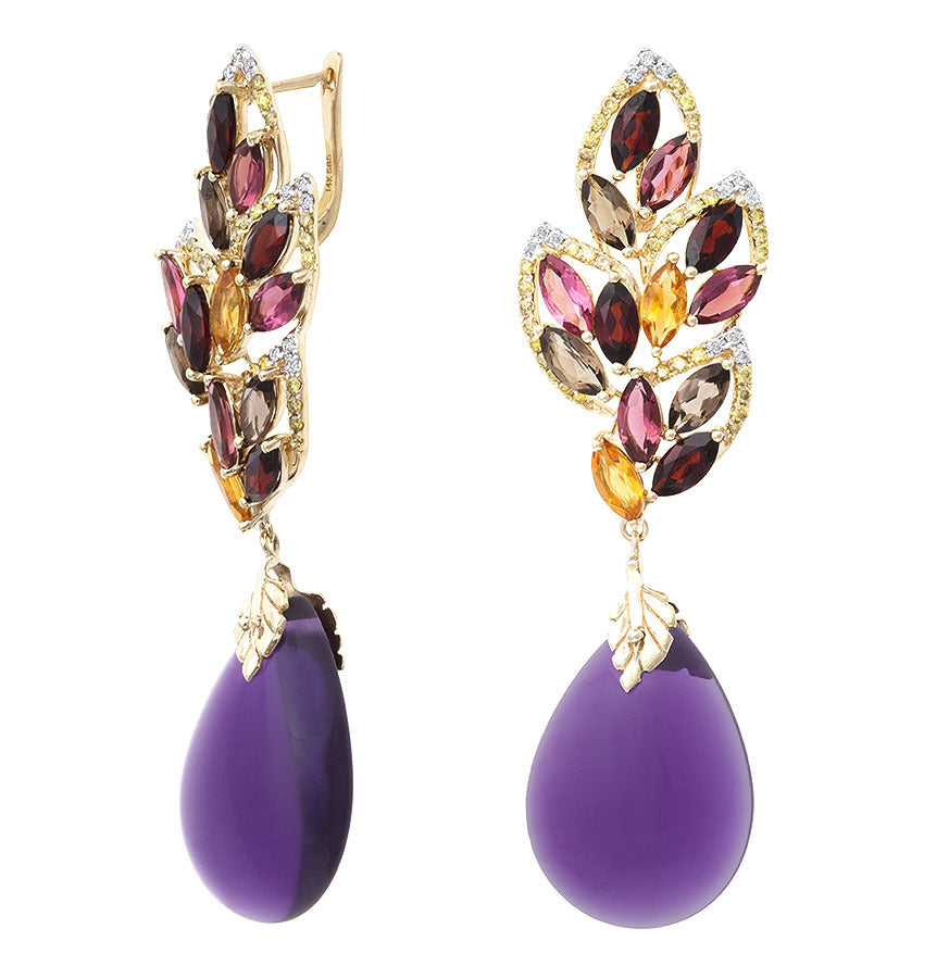 18k Royalty Purple Amethyst Earring