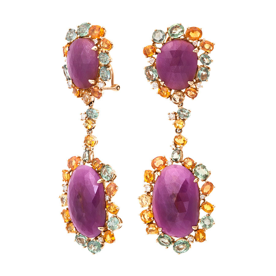 First Impression Custom Collection ~ Pink Sapphire & Multi-Stone Earring