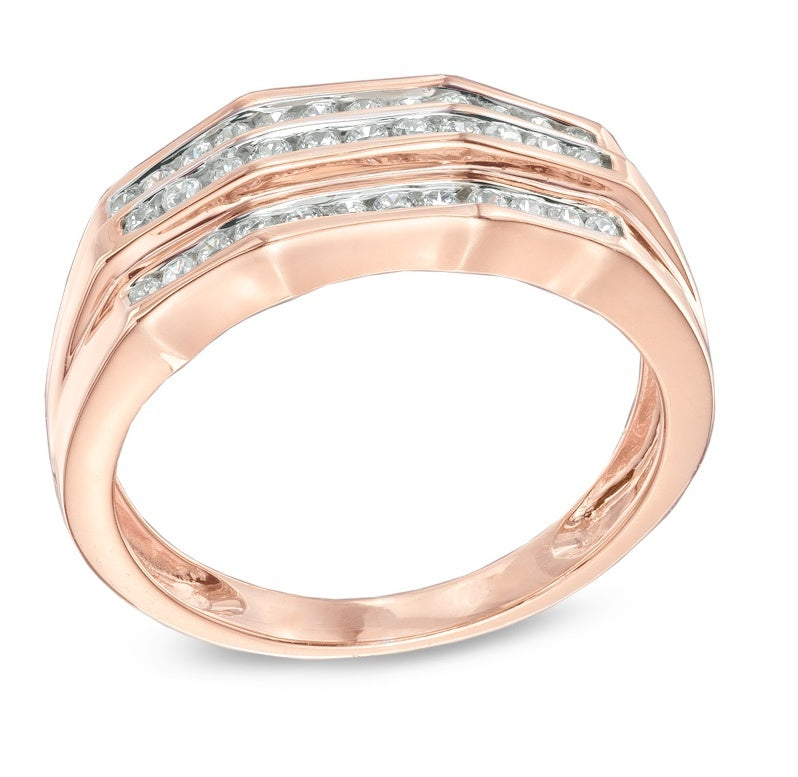 Tri Channel Setting Diamond Wedding Band