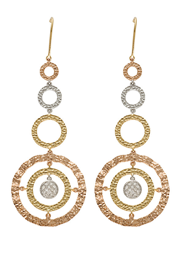 Jackie Dangling Three Tone Diamond Earring