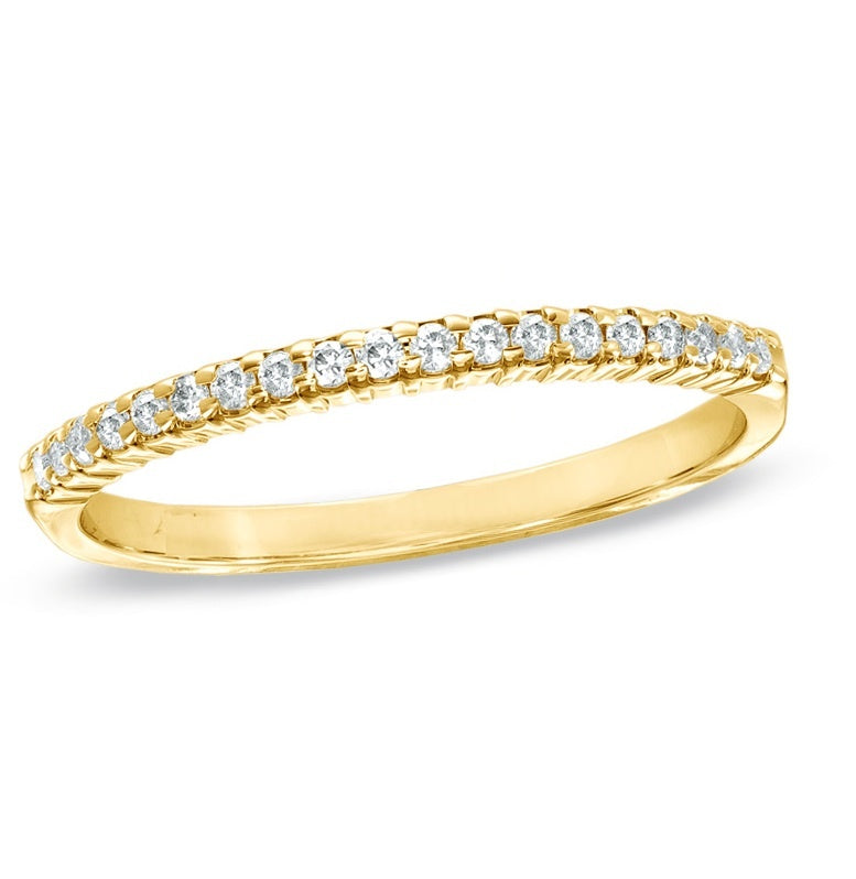 Bitty Yellow Gold Diamond Wedding Band
