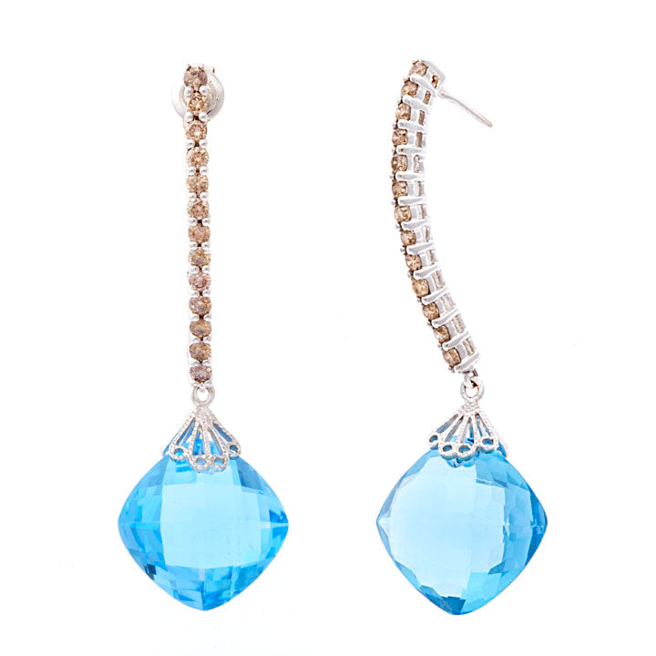 Blue Topaz & Champagne Diamond Earrings
