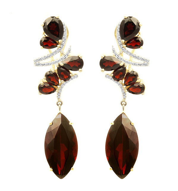 Marquise Garnet & Diamond Earrings