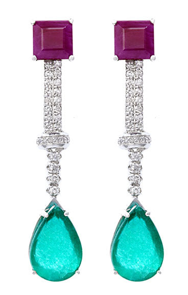 Ruby, Emerald & Diamond Earrings