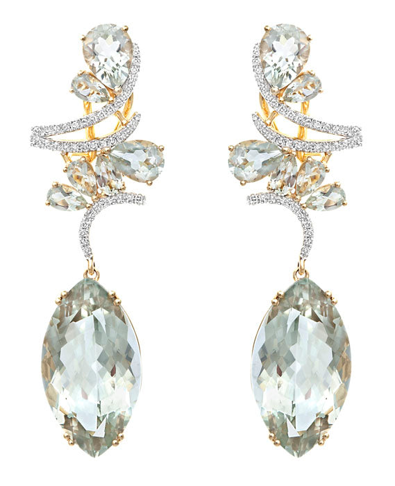 Exotic Green Amethyst Drop Earring