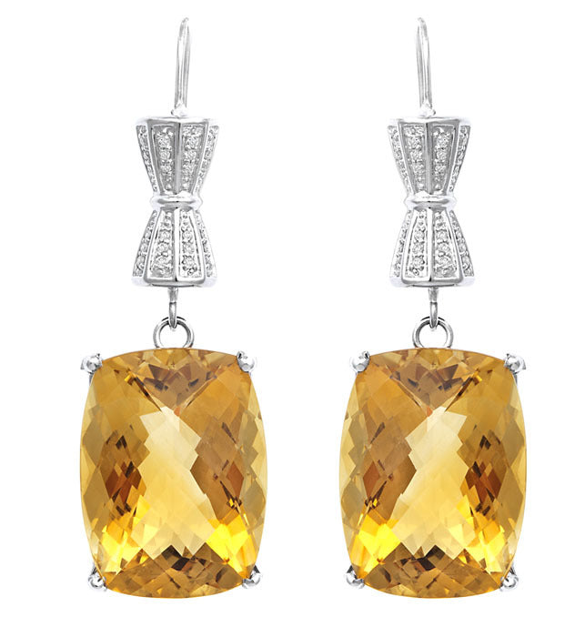 Exotic Citrine Diamond Earring