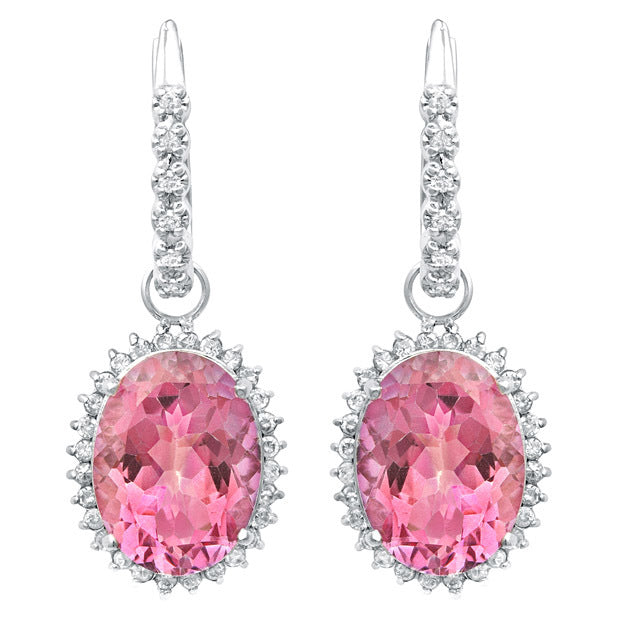 2 in 1 Pink Topaz & Diamond Earring