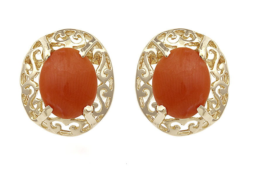 Coral & Diamond Stud Earring