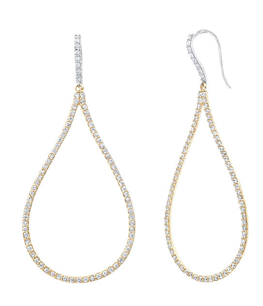 Pear Shaped Diamond & White Sapphire Earring