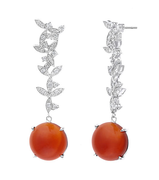 Carnelian Orange & Diamond Earring