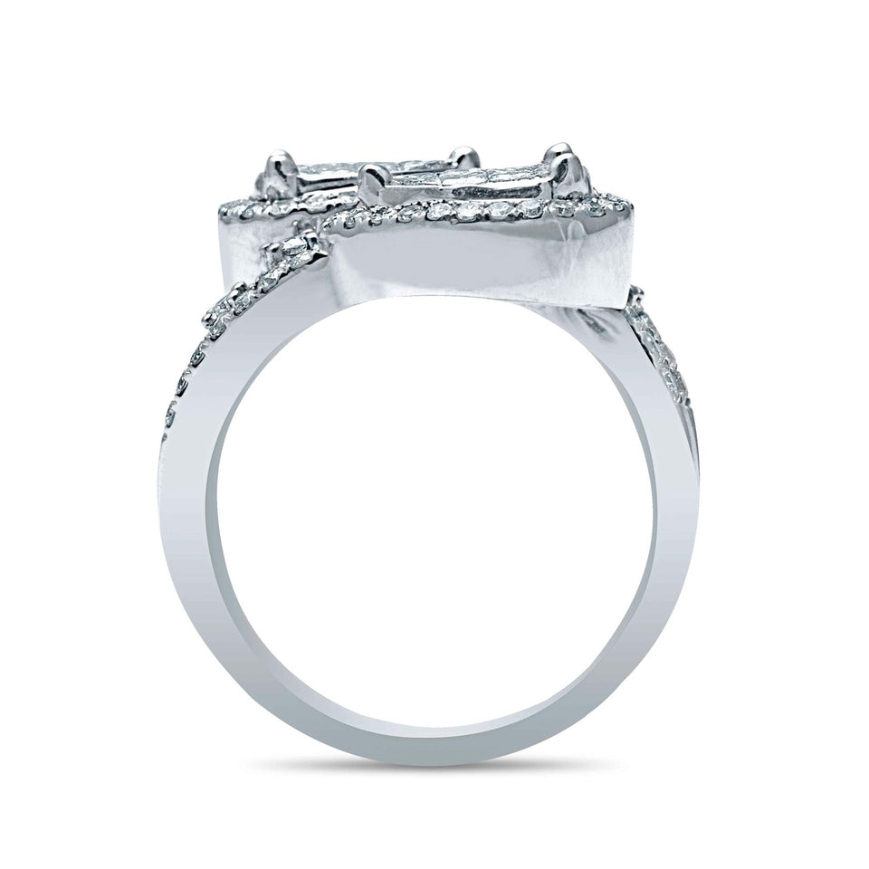 Princess Cut & Round Diamond Halo Engagement Ring