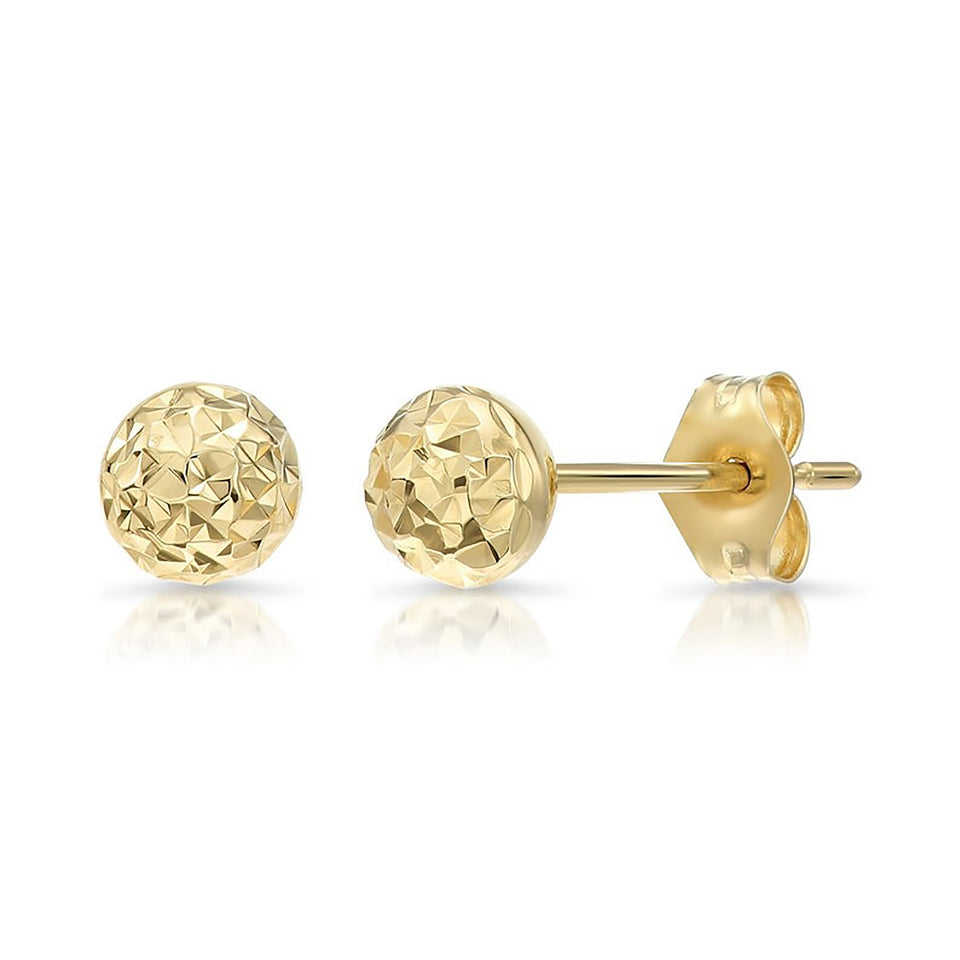 8mm White Gold Diamond-Cut Stud Earrings