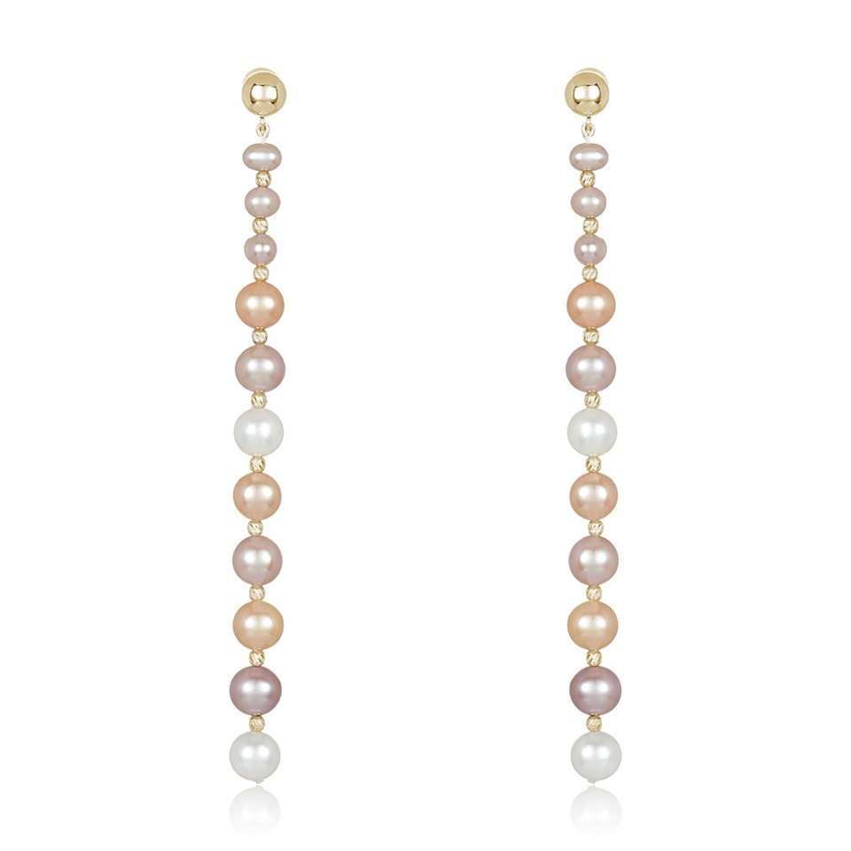 Nehita Yellow Gold Graduating Pastel Pearl Earrings