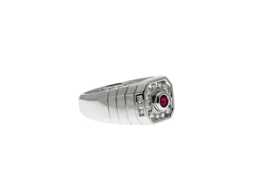 Grooved Shank Red Sapphire & Diamond Ring