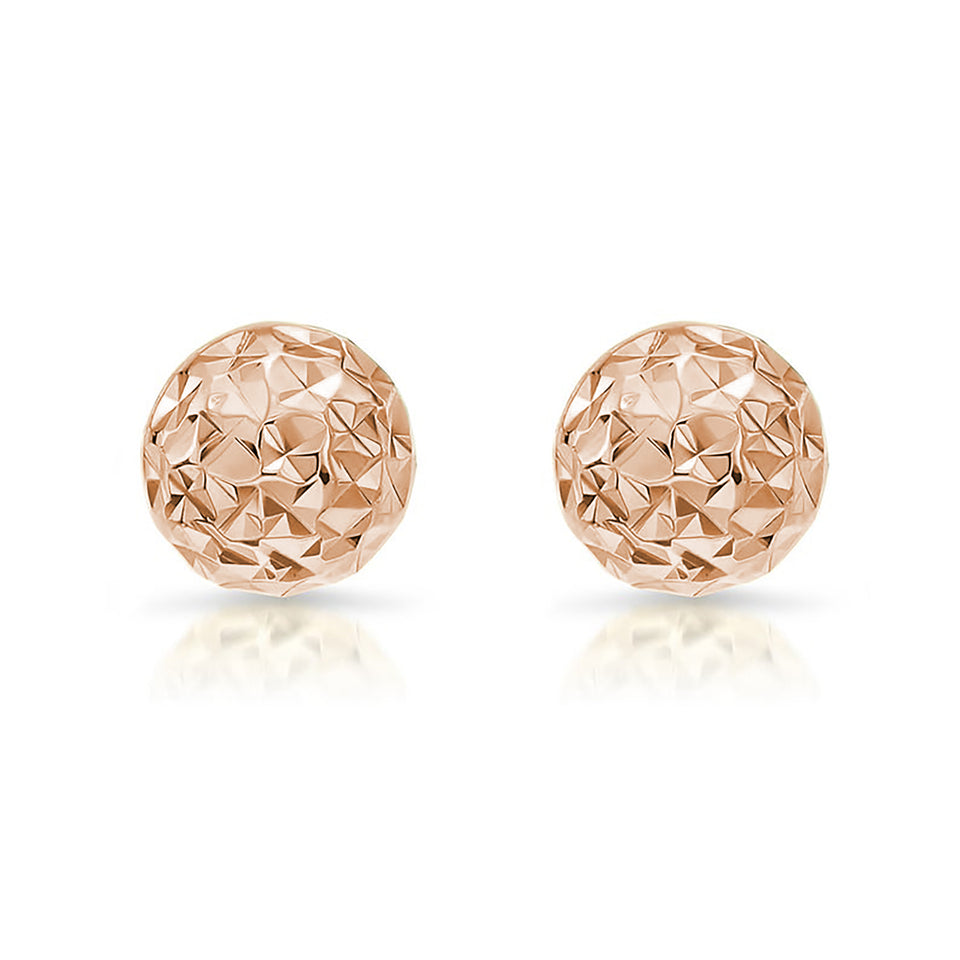 12mm Diamond-Cut Studs ~ Rose Gold