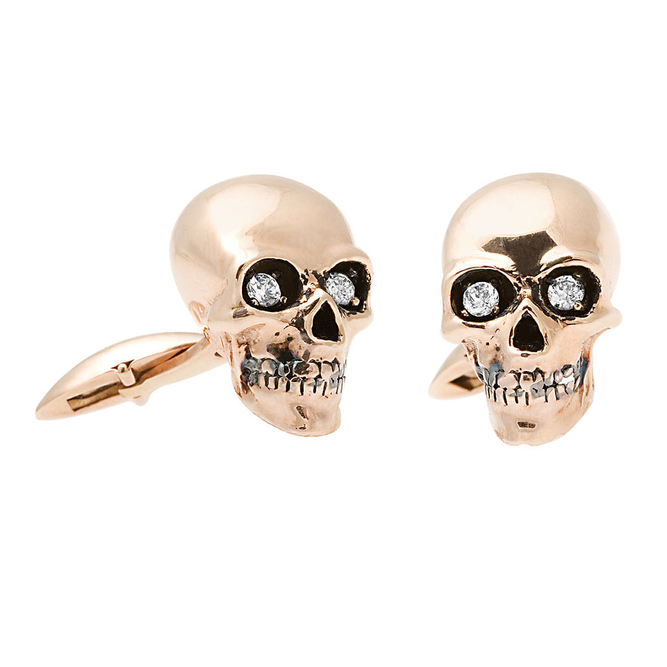 First Impression Custom Collection ~  Diamond Rose Gold Skull Cuff Links