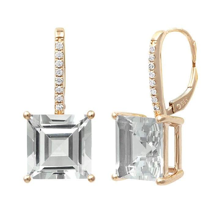 Cushion Cut White Topaz & Diamond Earring