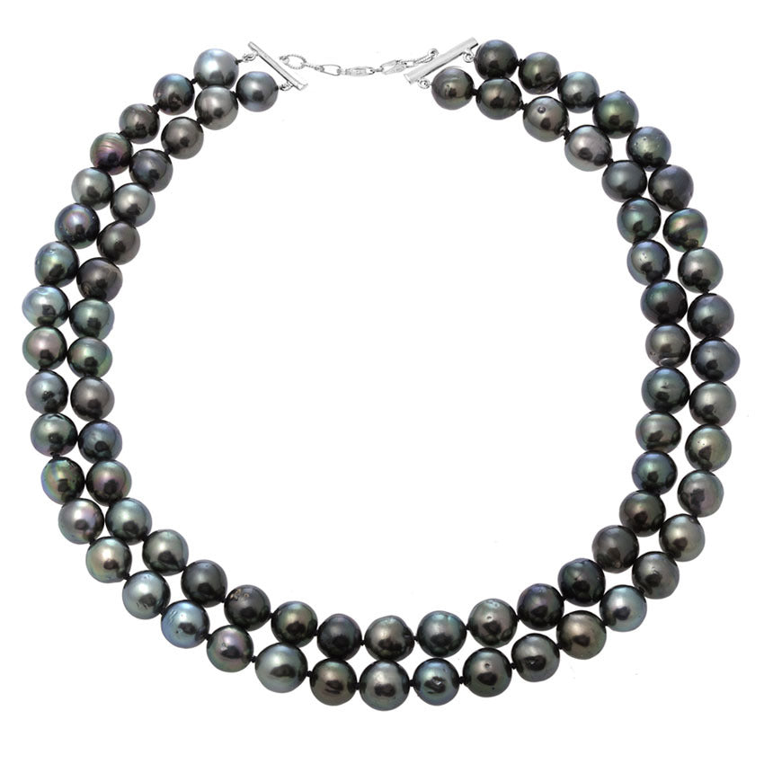 Two Strands Fresh Water Cultured Black Pearls