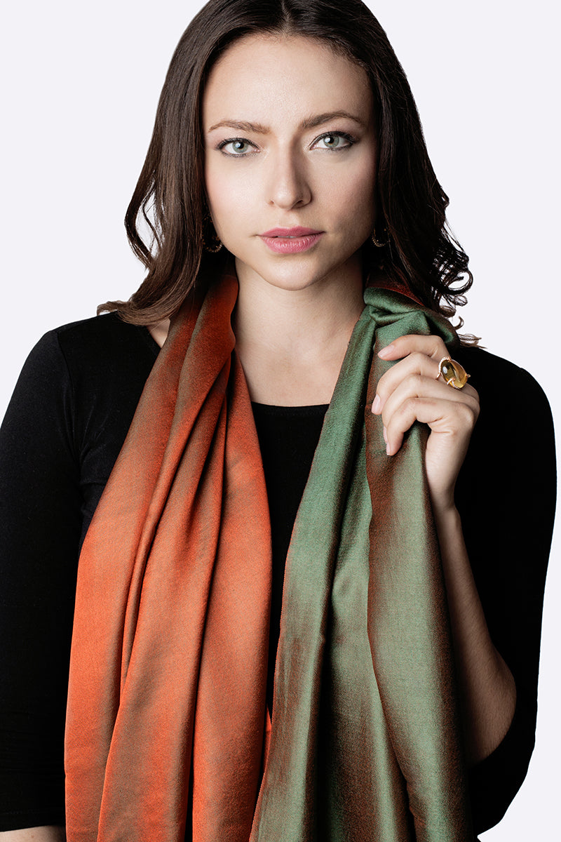 Luxe Green & Orange double sided silk stole