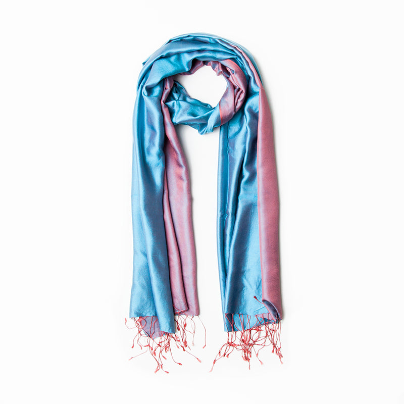 Dreamy Blue & Azalea double sided silk stole