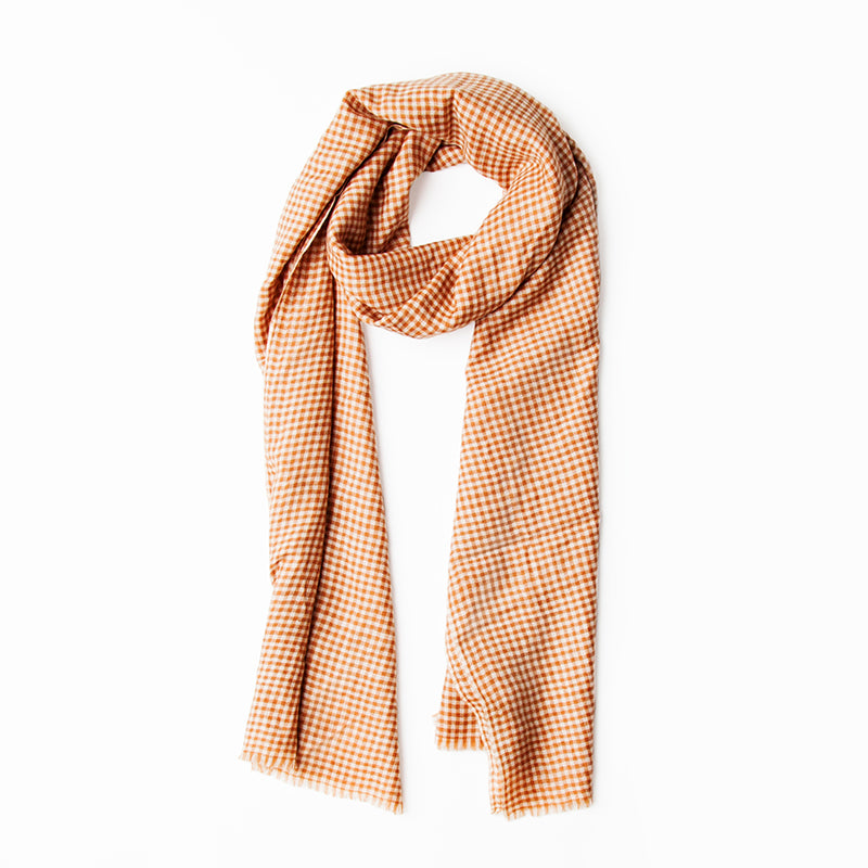 Nehita Plaid Brown and White Pashmina Stole
