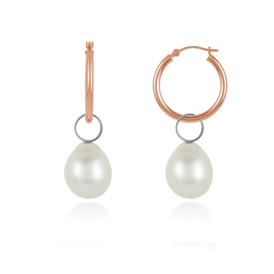 Two-In-On Rose Gold Pearl Charm Hoop Earrings