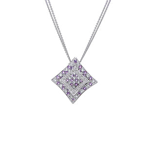 Double Chain Diamond & Amethyst Pendant