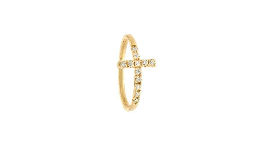 Yellow Gold Diamond Cross Ring