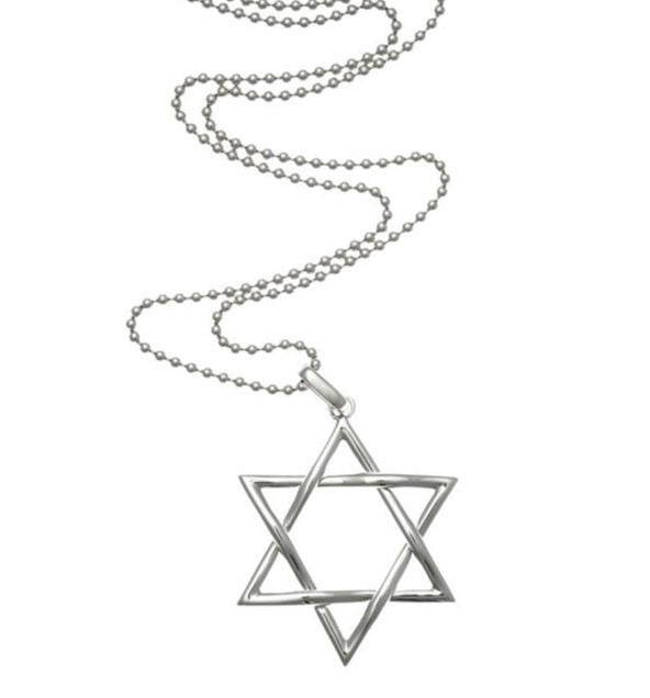 18kt White Gold Star Of David Pendant