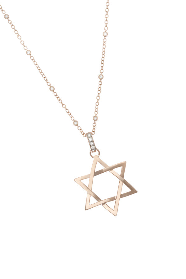 Diamond Rose Gold Star Of David Pendant