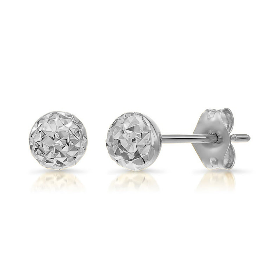 8mm Yellow Gold Diamond-Cut Stud Earrings