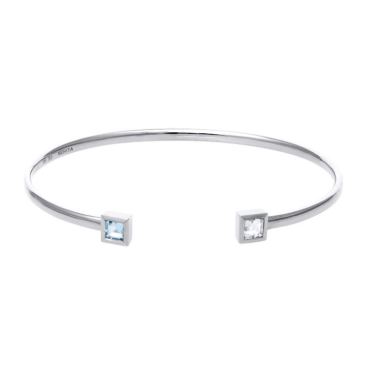 White Gold White,  Blue Topaz Cuff Bangle