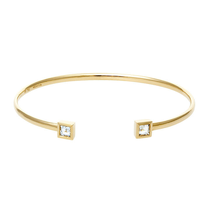 Yellow Gold White Topaz Cuff Bangle