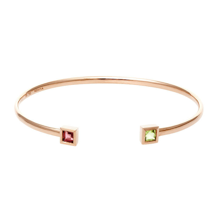 Rose Gold Cuff Bangle ~ Garnet & Peridot