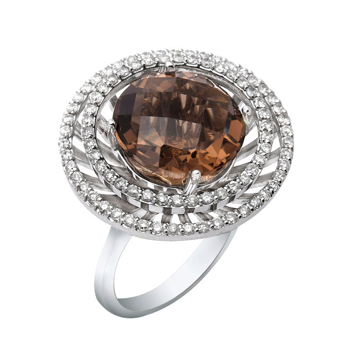 18kt Quartz & Diamond Basket Ring