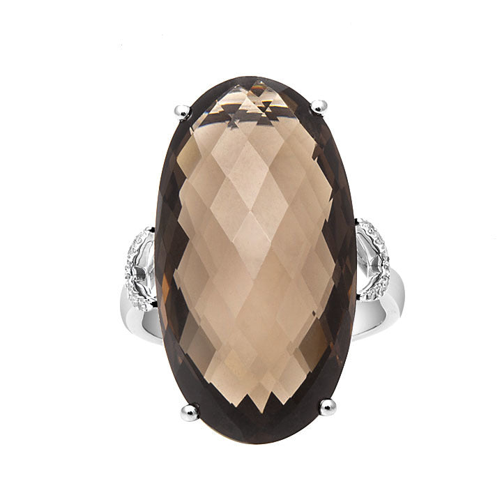 Smoky Quartz & Diamond Ring