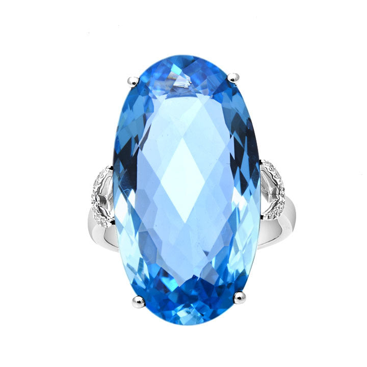 Oval Topaz & Diamond Ring