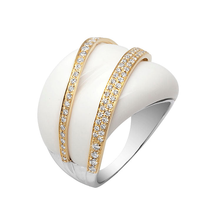 18kt White Agate & Diamond Ring