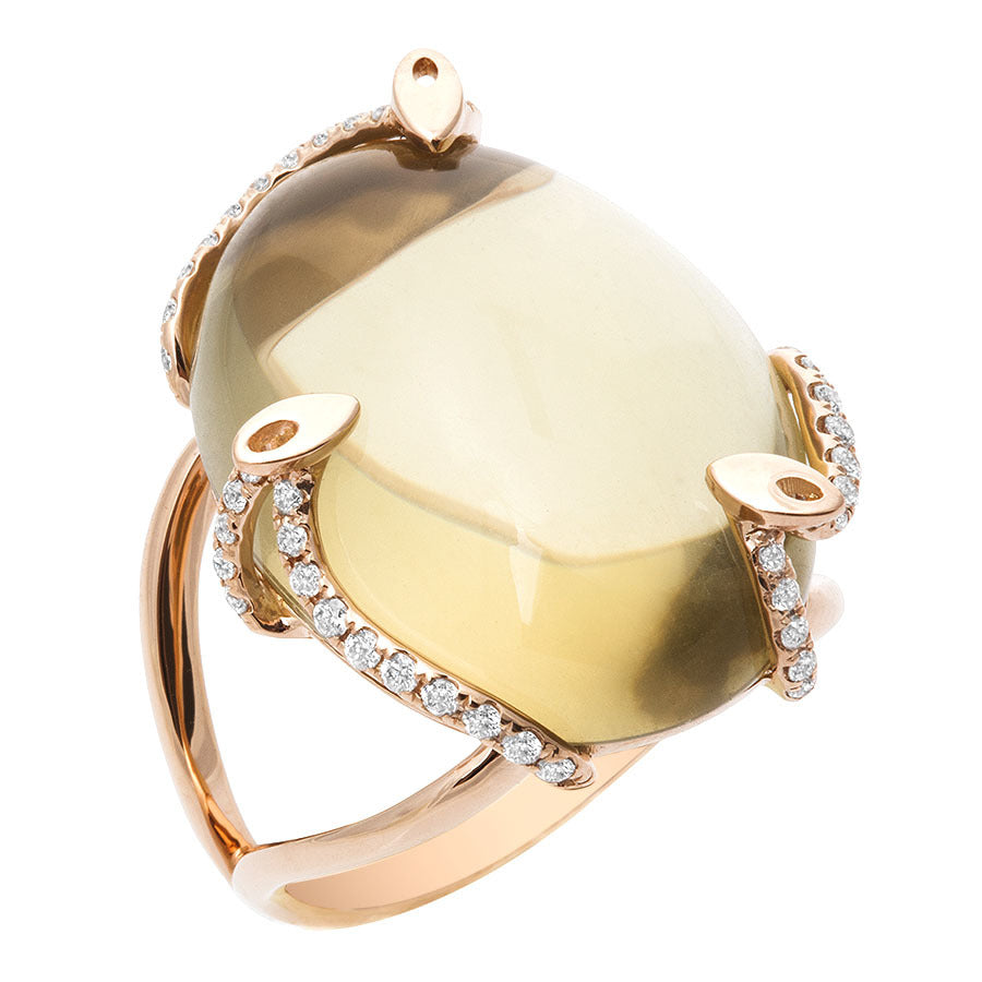 Oval Cognac Quartz & Diamond Ring