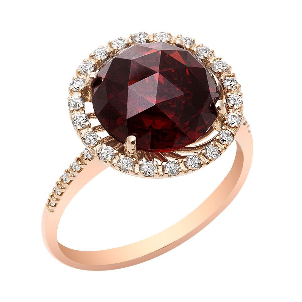 Round Garnet & Diamond Ring