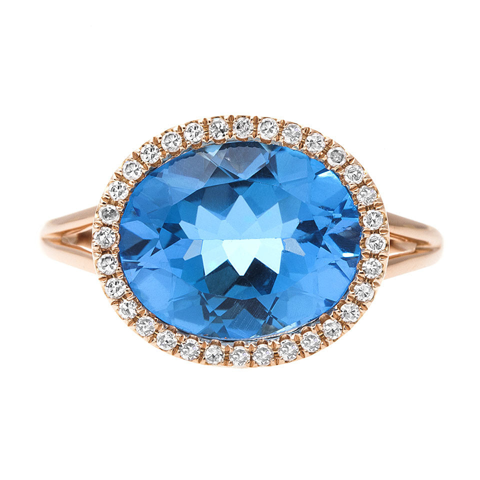 Oval Blue Topaz & Diamond Ring