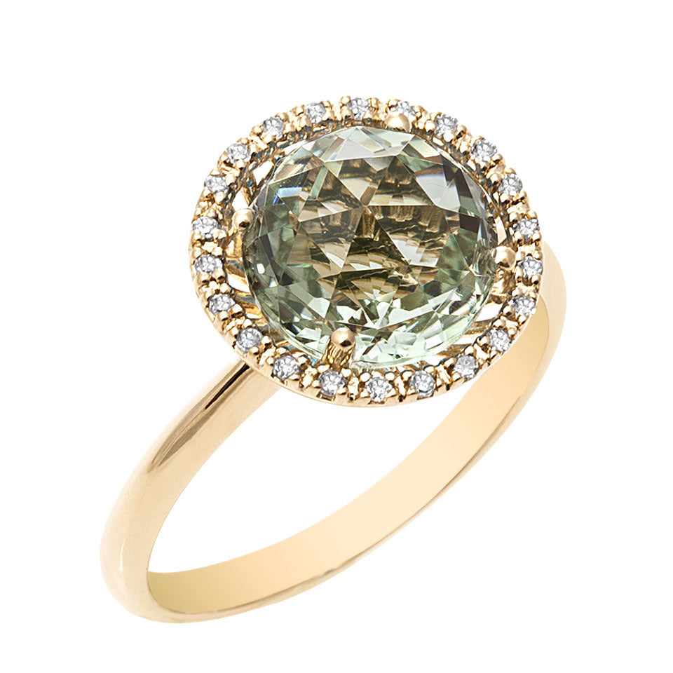 Mini Green Amethyst & Diamond Ring
