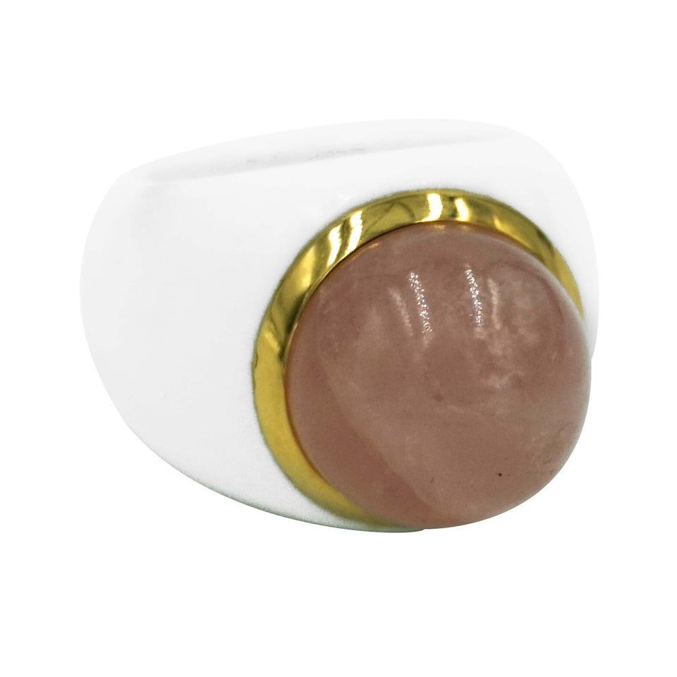 White Onyx & Pink Quartz Ring 6.5