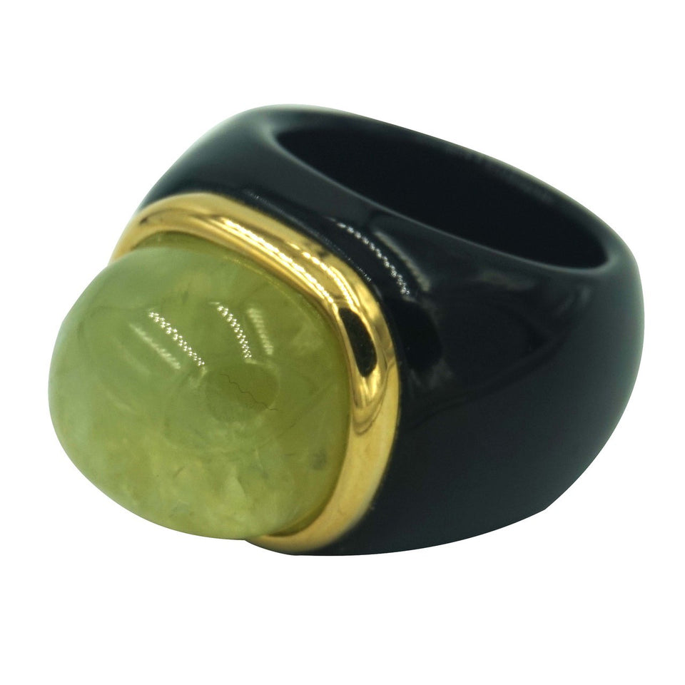 Black Onyx & Green Quartz Ring