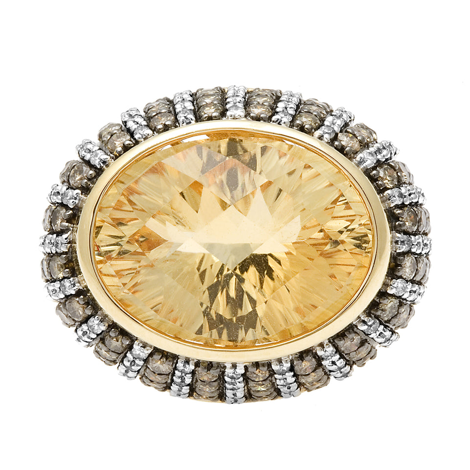 Citrine & Champagne Diamond Oval Ring